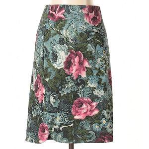 Vintage J. jill rich vivid floral skirt, Small